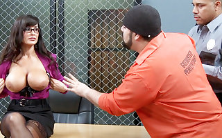 Kinky convicts decide to gang-bang a MILF teacher